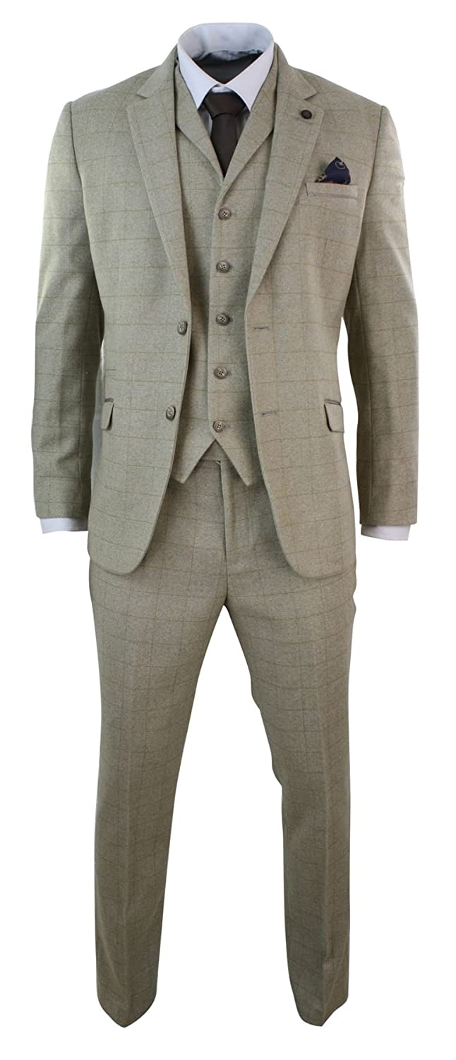 Cavani Mens 3 Piece Cream Beige Check Tweed Herringbone Vintage Tailored Fit Suit - Beige