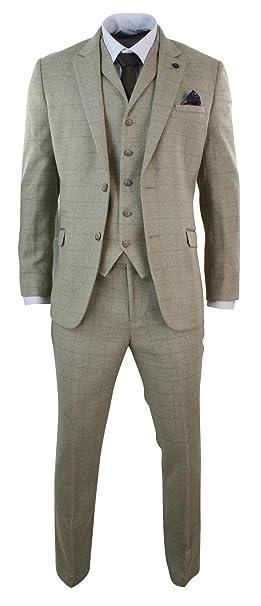 1d895c03ace5 Abito Elegante 3 Pezzi da Uomo Completo Vintage in Tweed Beige a Scacchi  beige  Amazon.it  Abbigliamento