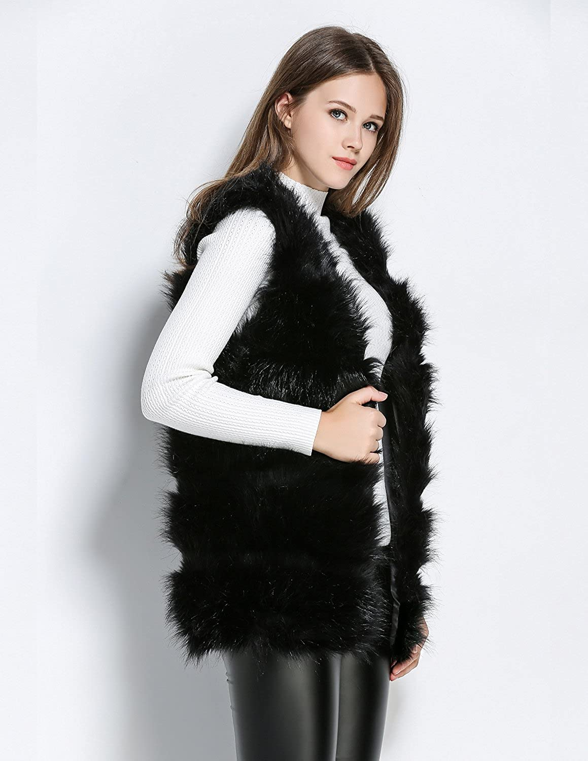 7745513750d Modetrend Women Ladies Faux Fur Sleeveless Hoodie Shaggy Open Cardigan Vest  Jacket Coat Outwear