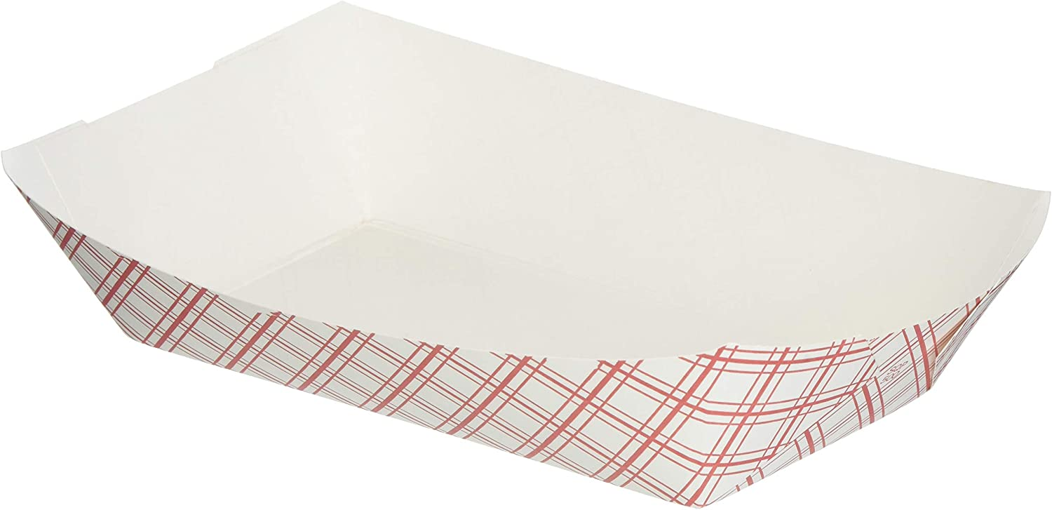 Mr. Miracle White and Red Paper Food Tray. 5-Pound Size. Pack of 250. Disposable, Recyclable and Fully Biodegradable. Made in USA
