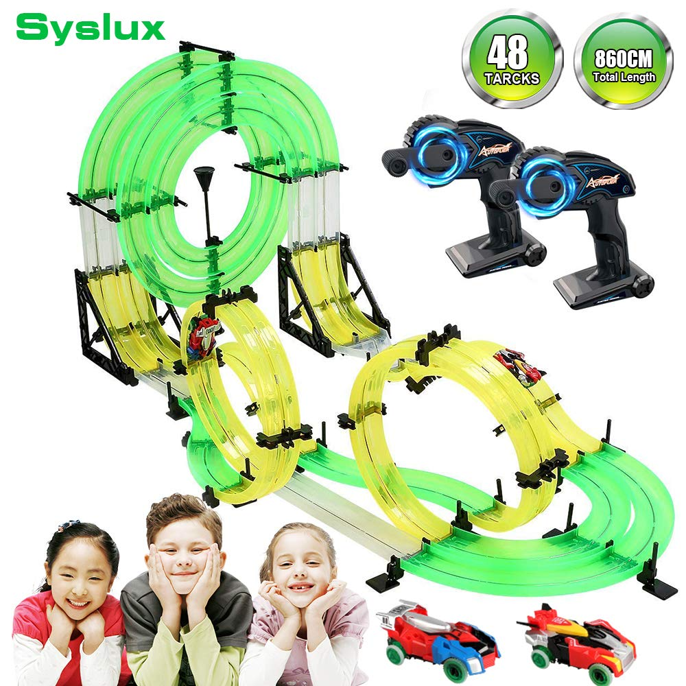 Syslux RC Car with Track, Racing Track Car,860cm Car Race Track Set Speeding Racing Car with 3D Track,2 Cars, 2 Hand-Operated Controllers, Assembly for Children Educational Toy Birthday by Syslux