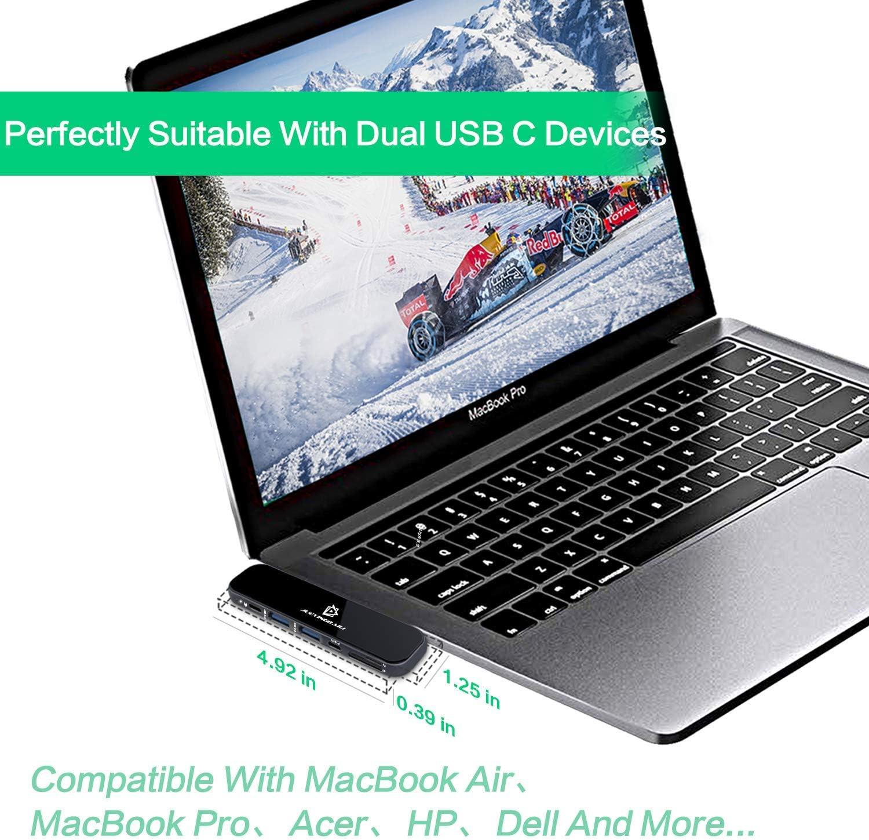 MacBook Pro Adapters 2019 2018-2016 13 15 16 /& MacBook Air 7 in 1 MacBook Pro Hub with 4K Hdmi,USB 3.1 USB C Hub Gray Aluminum /& Glass Panel Type C PD 100W,USB-C Data,TF//SD
