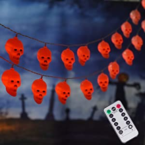 30 LED Halloween Decoration Skull String Lights, Battery Operated 8 Modes Fairy Lights with Remote, 16.4ft Waterproof Halloween Lights Decor for Outdoor Indoor Party (Red)