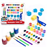 TBC The Best Crafts Washable Paint Set for Kids, Acrylic Paint Pots, Semi-moist Watercolor, Finger Paints, Paint Brushes…