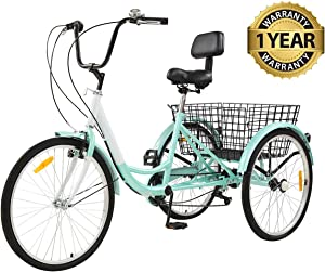 Sibosen Adult Tricycles 7 Speed, Adult Tricycle Trikes
