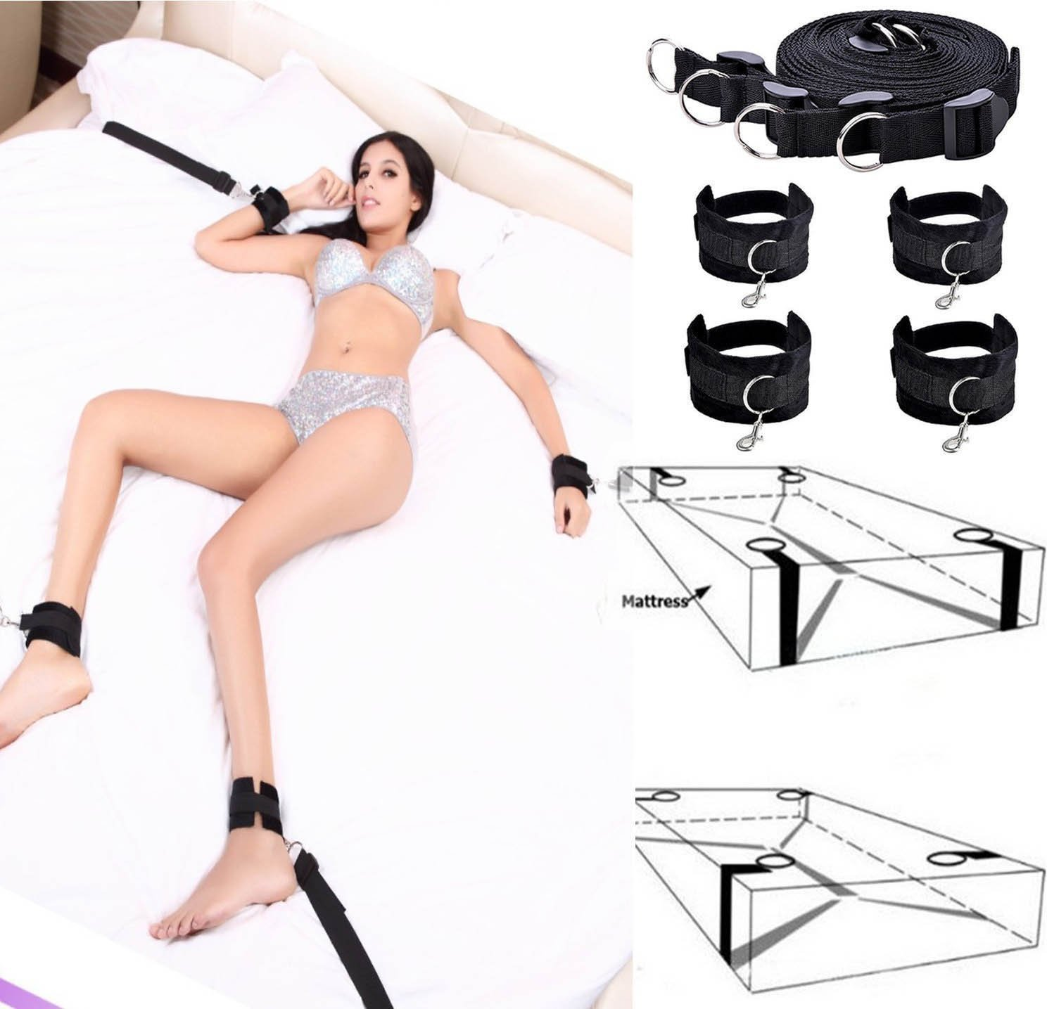 FEHFJAD-2LKM Black Nylon Ropes Wrist and Ankle Protector for Couples