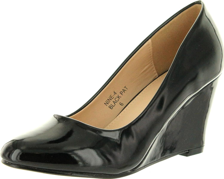Bella Marie Womens Nine-4 Wedge Pumps Shoes,Black,6.5
