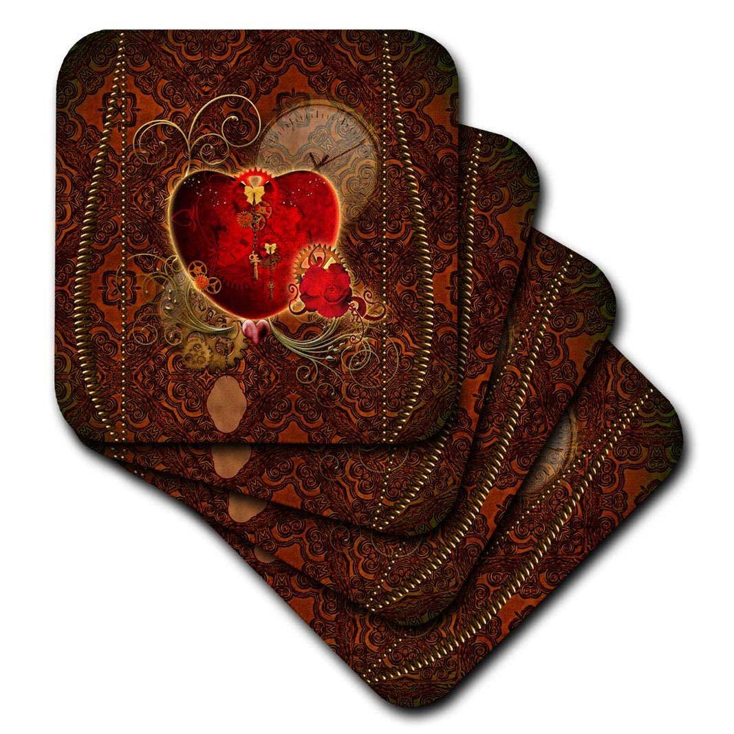 3drose Heike KöhnenデザインHoliday Valentines Day – Wonderfulハートと歯車とローズ、スチームパンクデザイン – コースター set-of-8-Soft cst_254551_2 set-of-8-Soft  B072P2G5QN