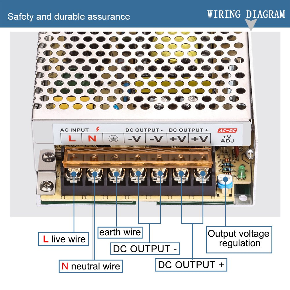 Ledmo Switching Converter Ac Dc Power Supply Adapter 110 To 12 Volt Wiring Diagram Transformer Driver For Led Strip Lights 100v 240v 12v 10a 120w Light