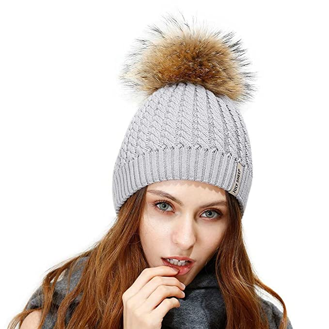 6d4d21e09fa JULY SHEEP Crochet Knit Fur Hat with Real Large Fur Pompom Beanie Hats  Winter Ski Cap at Amazon Women s Clothing store