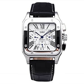 d3c180ab360 Jaragar Watches Men's Military Luxury Automatic Mechanical Watch  Multifunction Date Sub-dials Leather Wristwatch