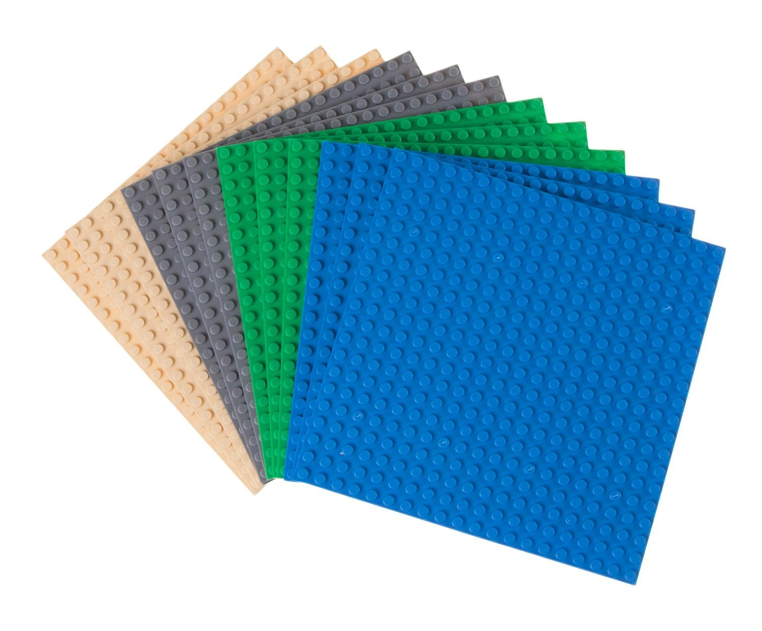 "Classic Baseplates by Strictly Briks | 100% Compatible with All Major Building Brick Brands | Double Sided Stackable Bases | 12 Tight Fit Base Plates in Blue, Green, Gray & Sand 6.25"" x 6.25"" Review"