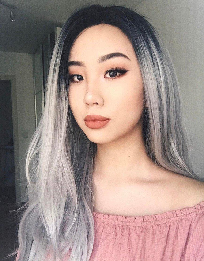 musegetes Ombre plateado frontal de encaje recto pelucas peluca Lace Front sintético resistente al calor para las mujeres: Amazon.es: Belleza