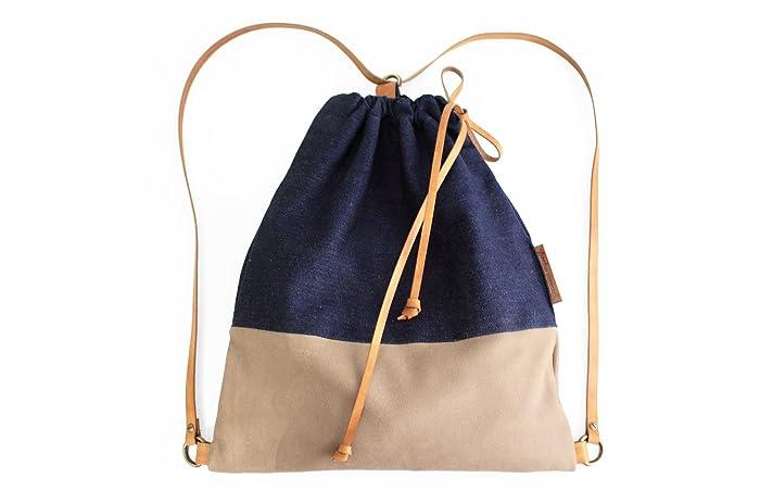 Simo BACKPACK, mochila de tela vaquera y piel, marron y azul