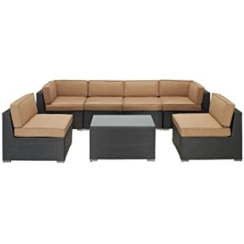 modway aero outdoor wicker patio 7piece sectional sofa set in espresso with mocha cushions