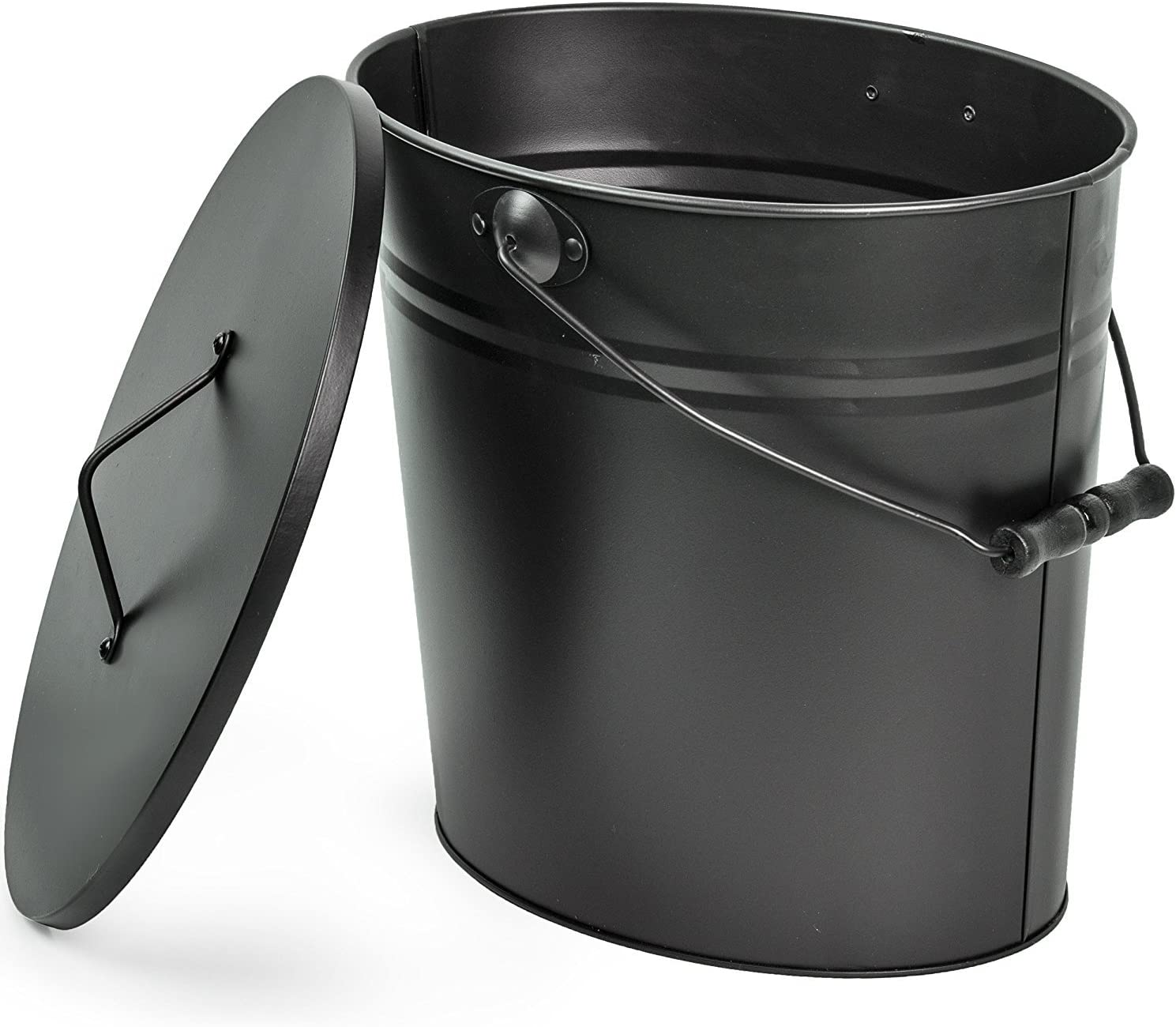 Estufa de le/ña Negro Cubo portador de cenizas Herramientas para chimenea Cubo para cenizas con tapa y mango de madera Pala para carb/ón Fogata