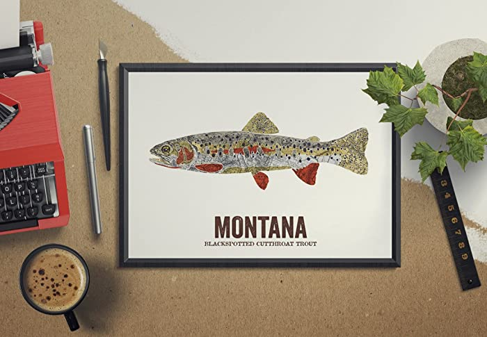 Amazon com: Montana State Fish, Nature art, Outdoor art, Vintage Map