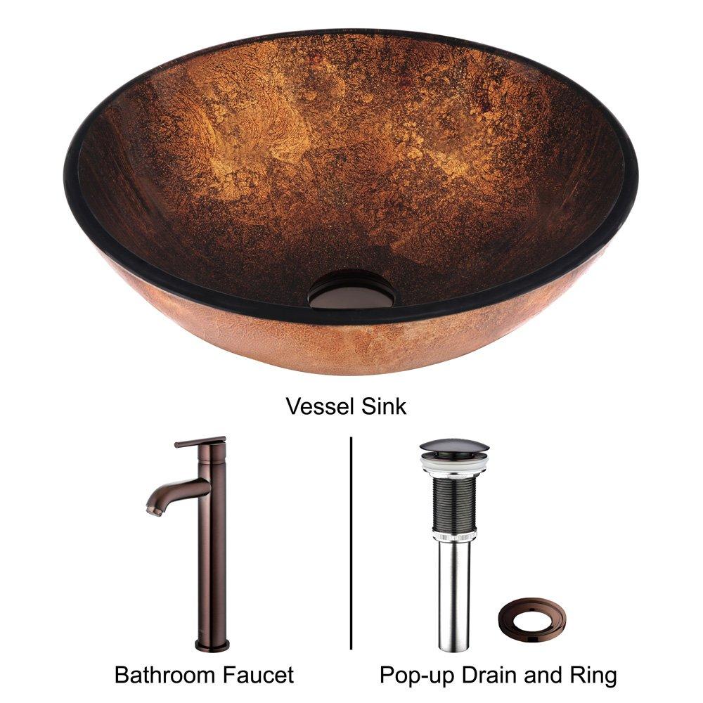 VIGO Russet Glass Vessel Bathroom Sink and Seville Vessel Faucet ...