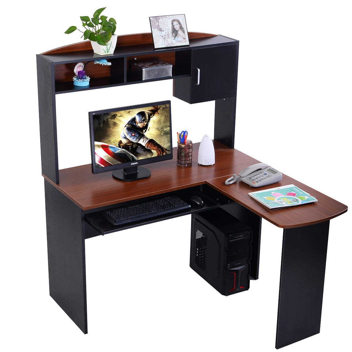 Tangkula L Shaped Desk Corner Home Office Computer Desk with Hutch (Black & Brown)