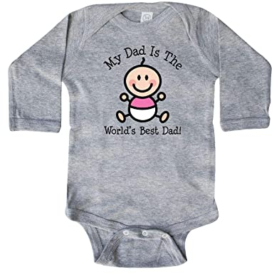 8dd9855e Amazon.com: inktastic - Dad is Worlds Best baby girl Long Sleeve Creeper  1898e: Clothing