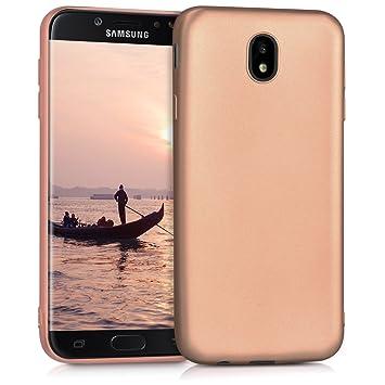kwmobile Funda para Samsung Galaxy J7 (2017) DUOS - Carcasa para móvil en TPU Silicona - Protector Trasero en Oro Rosa Metalizado