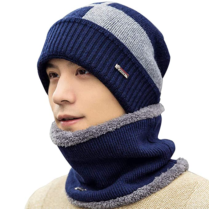 Boomly Hombres Sombrero de punto + bufanda de cuello Invierno Calentar Gorro  de lana Beanie Calentador de cuello Forro de terciopelo Tapa de cobertura  Esquí ... 6740ac30c2d