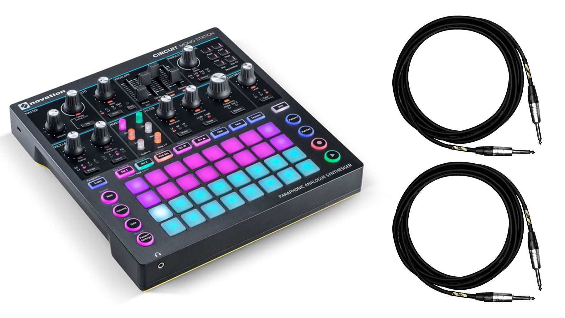 Novation Circuit Mono Station Synthesizer Bundle with 2 10-foot Mogami 1/4'' Instrument Cables (3 Items)