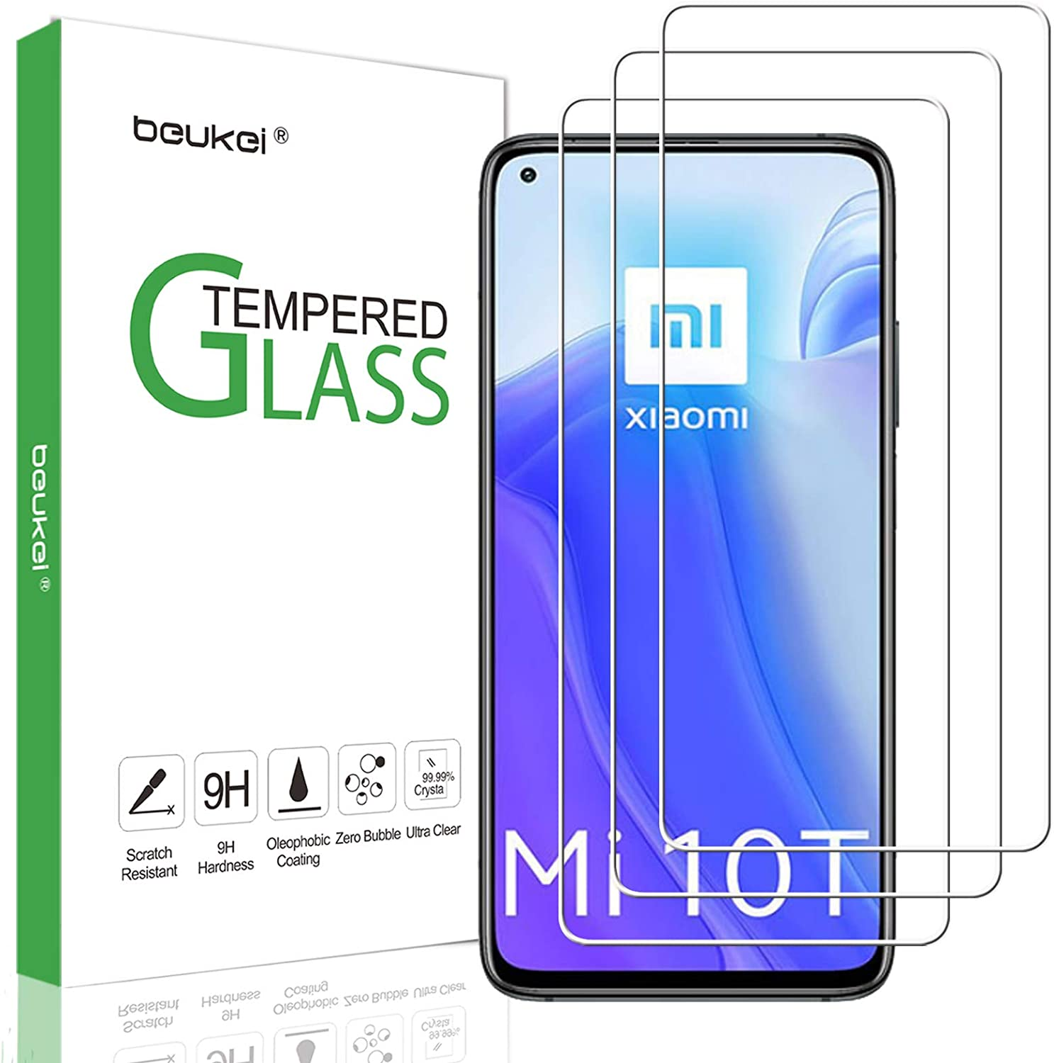 (3 Pack) Beukei Screen Protector Compatible for Xiaomi Mi 10T Pro 5G and Xiaomi Mi 10T 5G Screen Protector Tempered Glass, 6.67 inch, 9H Hardness, Anti Scratch, Bubble Free
