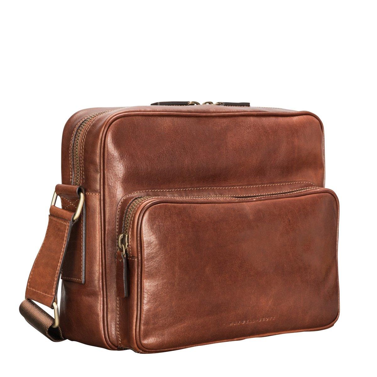 Maxwell Scott® Elegante bolso mensajero en cuero Italiano color terracota (Santino M): Amazon.es: Equipaje