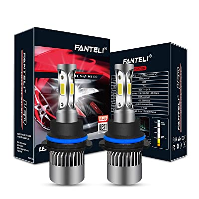 FANTELI 9004/HB1 10000K-12000K Deep Blue 3-Sided LED Headlight Bulbs All-in-One Conversion Kit - 72W 8000lm Dual Hi/Lo Beam Extremely Bright: Automotive [5Bkhe2014492]