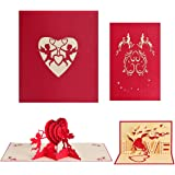 Jinhot 2 Pcs Valentine Day Pop Up Cards 3D Greeting Cards Love Heart Pop Up Cards for Valentines Day Card, Anniversary Card, Flower Card, Romance Card, Card for Wife (Red)