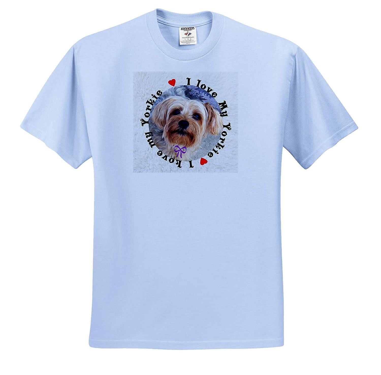 I Love My Yorkie Dog Photo with Red Heart 3dRose Sandy Mertens Dog Designs T-Shirts 3drsmm I Heart