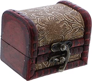 SandT Collection 3 Inch Wooden Keepsake Treasure Chest Trinket Box - Tan Swirl