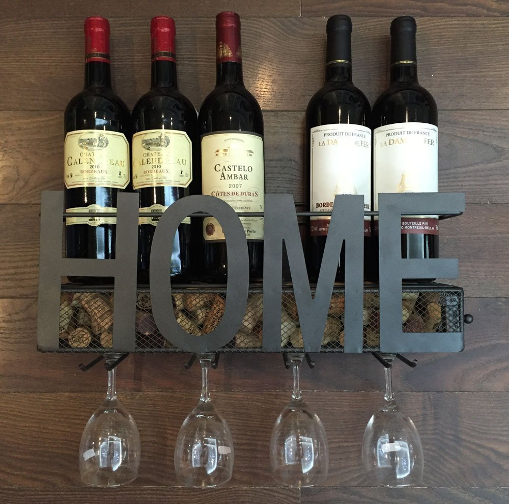 New Arrival Wall Mounted Metal Wine Rack 4 Long Stem Glass holder & Wine Cork Storage