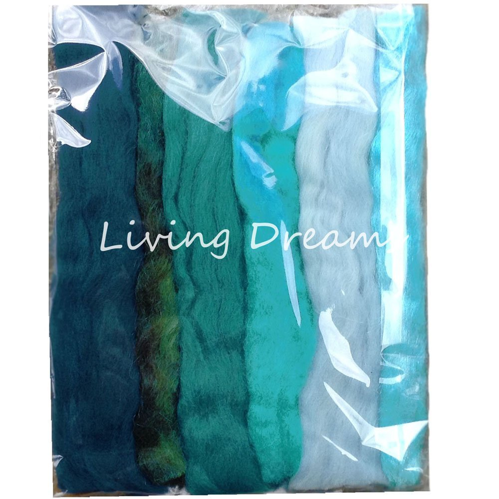 Magic Wool Fiber for Needle Felting Wool Fairies, Angels, Mermaids and Waldorf Dolls. Super soft Merino Roving, hand dyed BFL Luster Wool and sparkling Firestar. Multi Fiber Sampler 1oz Teal Multi by Living Dreams Yarn