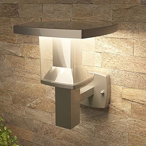 NBHANYUAN Lighting 8x7x10in LED Outdoor Wall Light Fixtures Exterior Wall Sconce Stainless Steel Silver Finish Weatherproof 3000K Warm Light Front Door Porch Light 110V 1000LM A