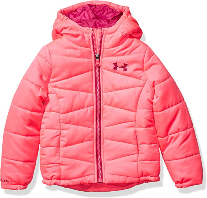 Under Armour Baby Girls' Little ColdGear Prime Puffer Jacket, Pinkadelic F1, 6X