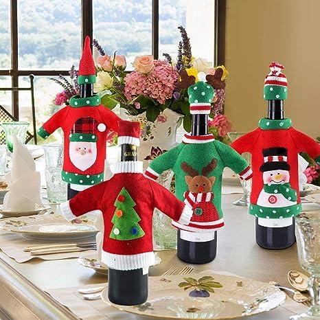 Amazon.com: 4pcs Navidad botella de vino cubierta de vino ...
