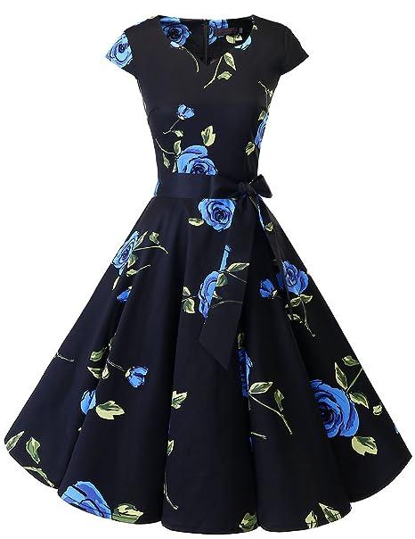 f8a30d775b1 Dresstells® Women Retro 1950s Polka Dots Cocktail Rockabilly Vintage  Cap-Sleeves Swing Dress Blue