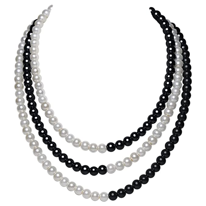 BABEYOND 1920s Imitation Pearls Necklace Gatsby Pearl Necklace 20s Pearls 1920s Flapper Accessories Two-tone Stitching Style (Black and White)