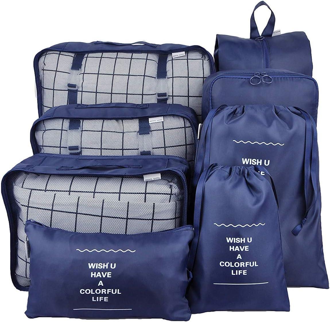 Bleu Marine Queta Organiseurs de Bagage Set de Organiseurs de Bagage pour Voyage Sacs dans Valise pour Les v/êtements,Chaussures et Cosm/étiques