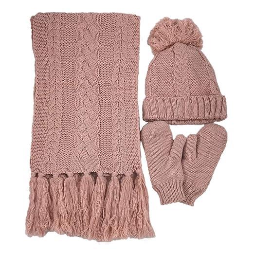 d44a1d7380d Amazon.com  Women Winter Woolen Warm Hat Scarf Gloves Three-piece ...