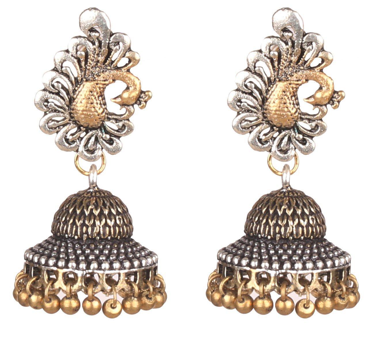 Sansar India Oxidized Dual Tone Peacock Stud Jhumka Jhumki Indian Earrings Jewelry for Girls and Women