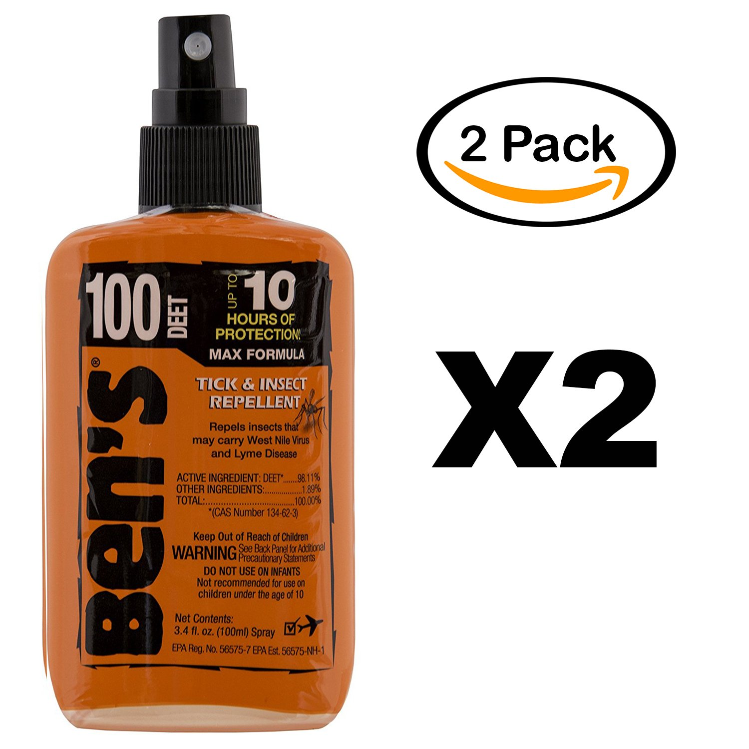 Ben's 100% Deet Tick Mosquito Insect & Bug Repellent 3.4 Ounce Oz Pump Spray (2 Pack)
