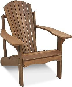 Furinno FG16918 Tioman Hardwood Patio Furniture Adirondack Chair in Teak Oil, Large, Natural