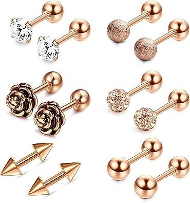 Pair Round Helix Earring Body Tragus  Ear Lip Piercing Jewelry 16G