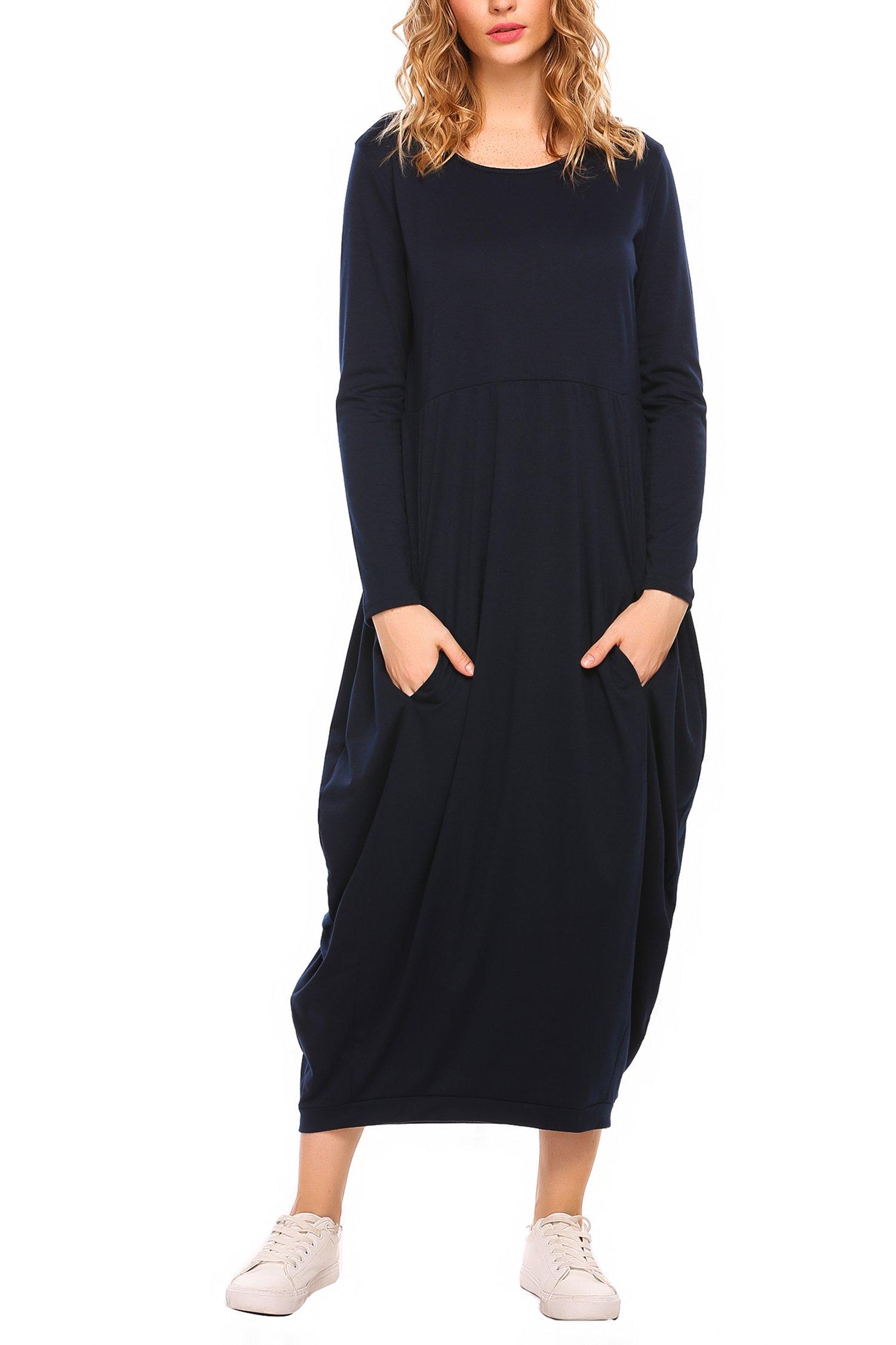 Zeagoo Women Casual Long Dress Long Sleeve Loose Fit Pockets Maxi Dress Navy Small
