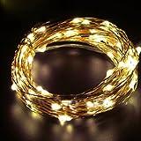 イルミネーションライト ストリングライト LED 2m 電球数20 電池式 結婚式 誕生日 飾りライト スター 電飾 室内室外 防水 電球色 (イエロー)
