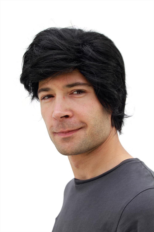 WIG ME UP PW0174-P103 - Peluca negra para hombre, de pelo corto y raya a un lado: Amazon.es: Juguetes y juegos