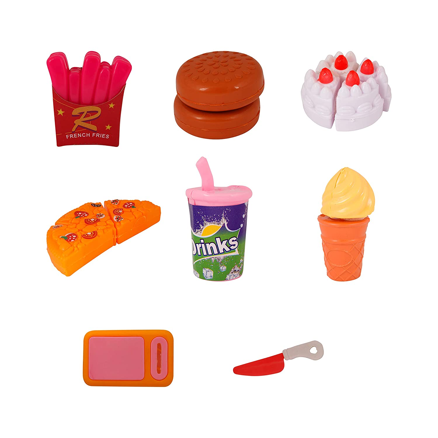 Pizza Party Fast Food Pretend Cooking & Cutting Play Set Toy